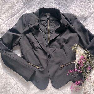 Cropped Black Blazer with Mesh Back